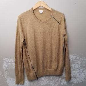 J. Crew large camel merino wool blend zipper side